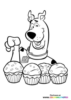 Scooby-Doo with muffins coloring page