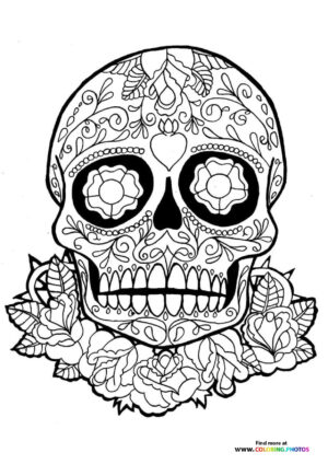 Skull and flowers coloring for adults