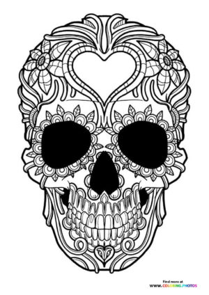 Skull with hart coloring for adults