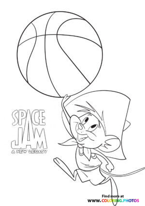 Speedy Gonzales playing basketball coloring page