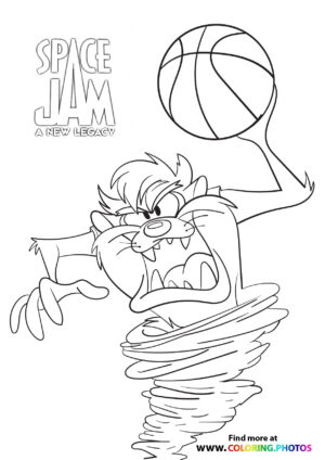 Tasmanian Devil playing basketball coloring page
