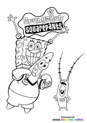 SpongeBob, Patrick and Plankton coloring page