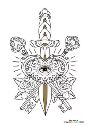 Sword and keys coloring for adults