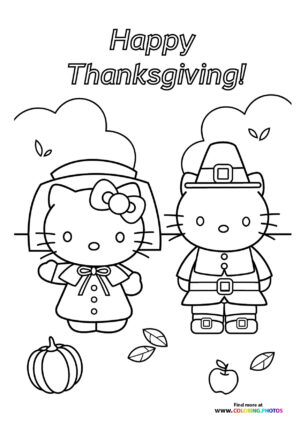 Thanksgiving Hello Kitty coloring page