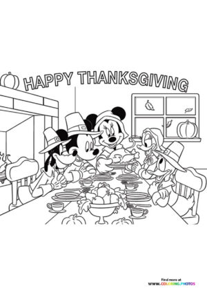 Thanksgiving Mickey Mouse family coloring page