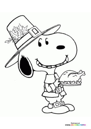 Thanksgiving Snoopy coloring page