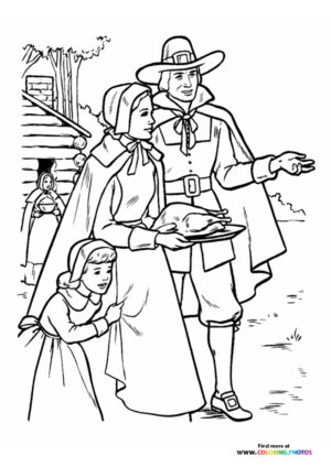 Family on Thanksgiving coloring page