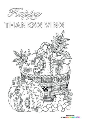 Thanksgiving basket of food coloring page