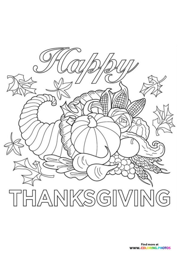 Thanksgiving food coloring page