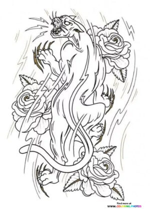 Tiger and roses coloring for adults