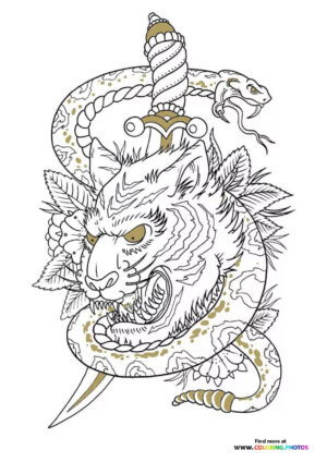 Tiger and snake coloring for adults