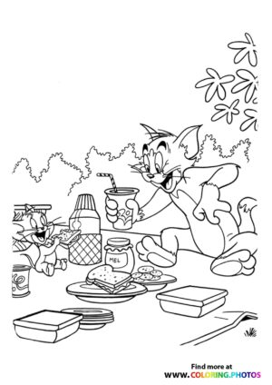 Tom and Jerry picnic coloring page