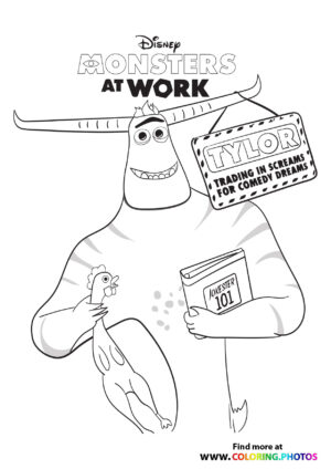Tylor with a book - Monsters at work coloring page