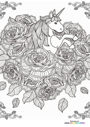Unicorn coloring page for adults