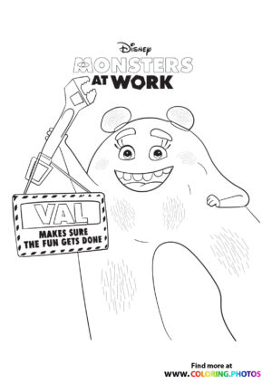 Val with a wrench - Monsters at work coloring page