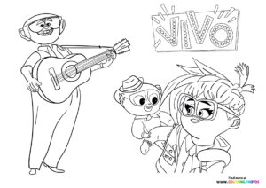 Vivo, Gabriela and Andres hanging out coloring page