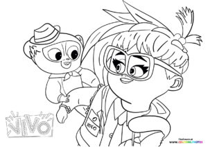 Vivo and Gabriela hanging out coloring page