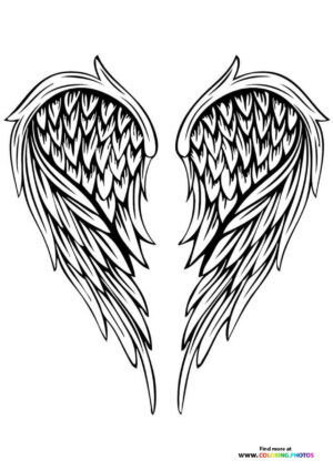 Angel wings coloring for adults