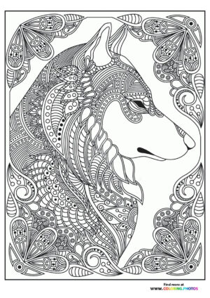 Wolf in flowers coloring page for adults