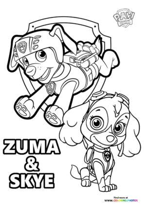 Zuma and Skye coloring page
