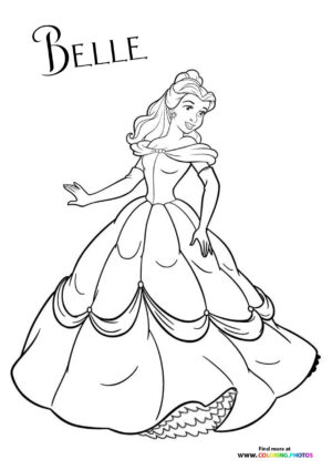 Princess Belle in a dress coloring page
