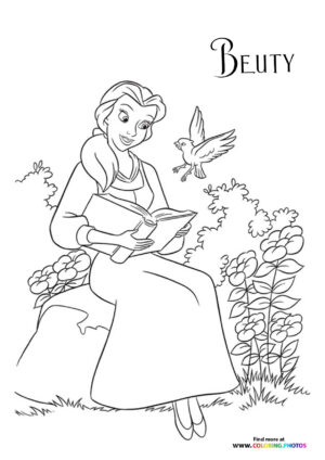 Princess Belle reading a book coloring page