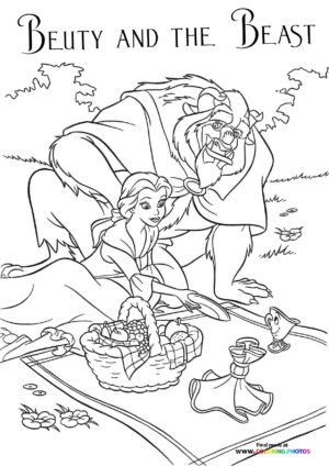 Beauty and the Beast on a picnic coloring page