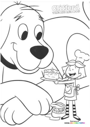 Emily with CLifford coloring page