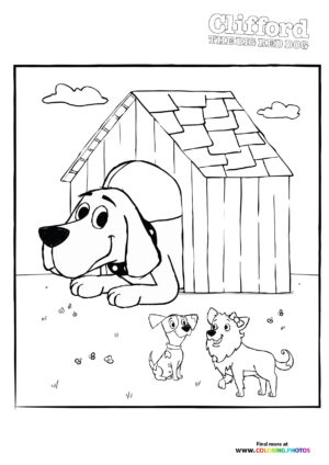 Clifford playing with friends coloring page