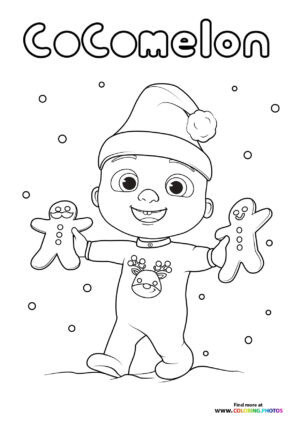 JJ from CoComelon - Christmas time coloring page