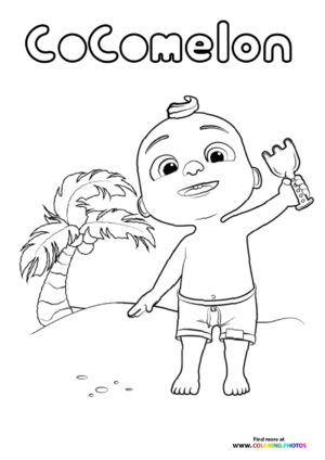 JJ from CoComelon on a beach coloring page