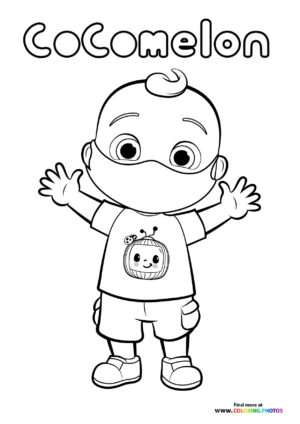 JJ from CoComelon with a mask coloring page