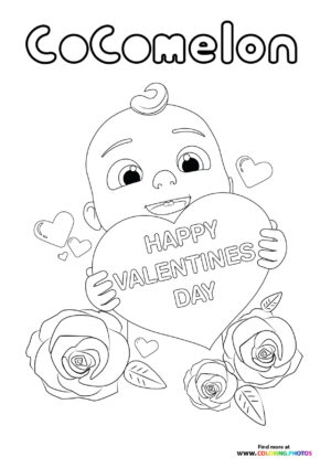 CoComelon Valentines Day coloring page