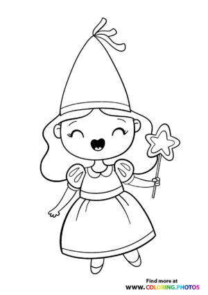 Fairy with a hat and magic wand