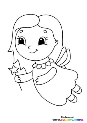 Fairy with start magic wand flying