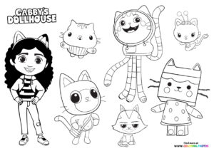 Gaby's Dollhouse - all characters coloring page