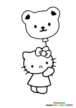 Hello Kitty ballon coloring page
