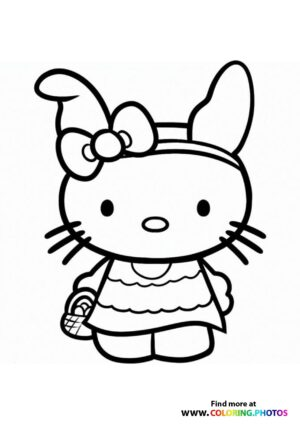 Hello Kitty bunny coloring page