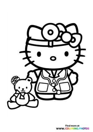 Hello Kitty doctor coloring page
