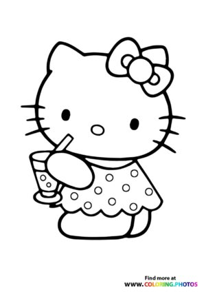 Hello Kitty drinking juice