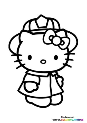Hello Kitty firefighter coloring page