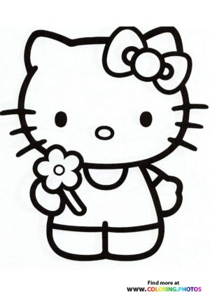 Hello Kitty with flower coloring page
