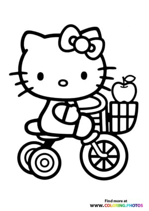 Hello Kitty on bike coloring page