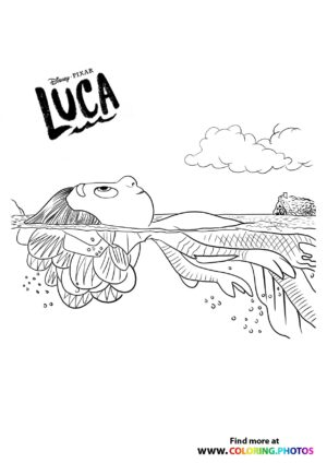 Luca Disney swimming coloring page