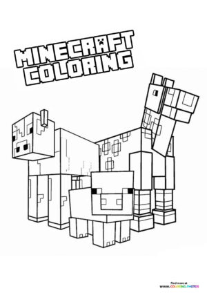 Minecraft animals coloring page
