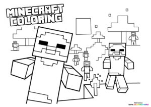 Minecraft zombys coloring page