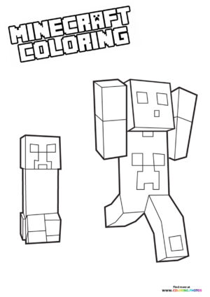 Minecraft - Steve being chased coloring page