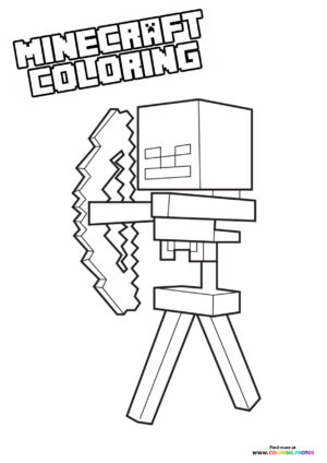 Minecraft character with bow coloring page