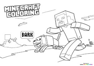 Minecraft Steve with a dog coloring page