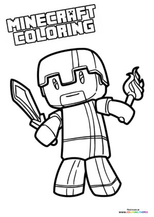 Minecraft Steve with a sword and torch coloring page